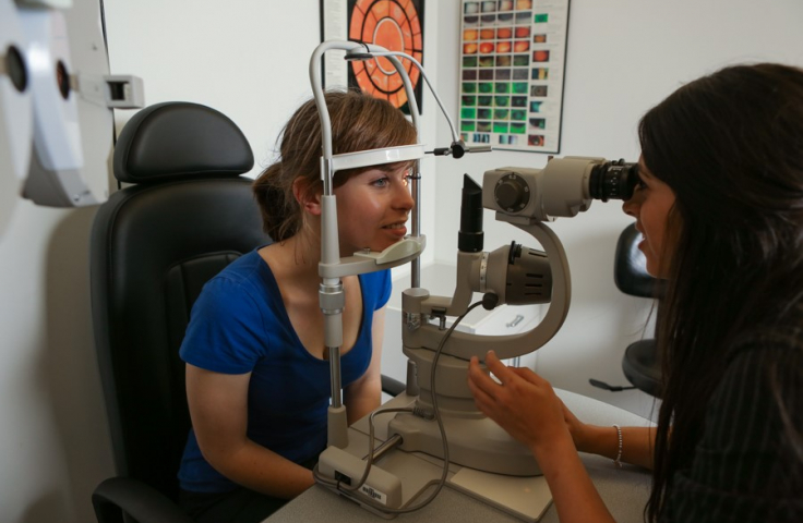 Student getting their eyes tested
